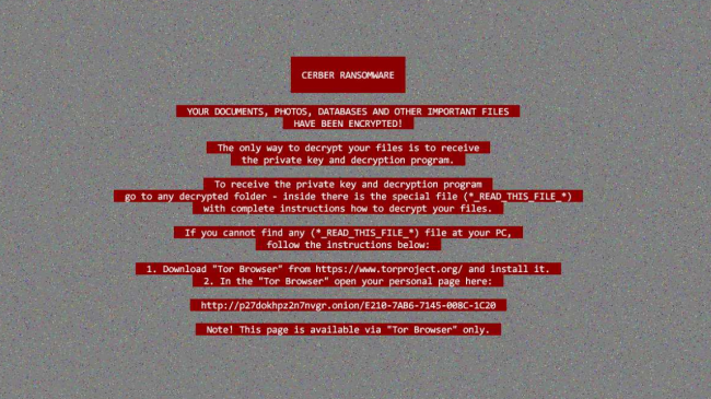 Fig 6. Cerber Ransomware's ransom note